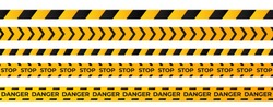 Construction caution tape . Yellow danger area ribbon .