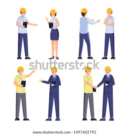 Construction company workers flat illustrations set. Professional contractors, safety inspectors, foreman and client cartoon characters. Architectural firm staff, building industry design elements