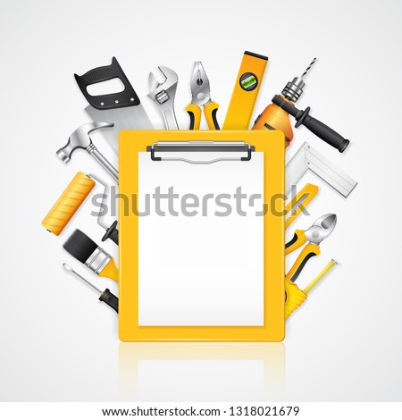 Construction concept clipboard with set all of tools supplies for tools shop service and house repair builder on white background vector illustration
