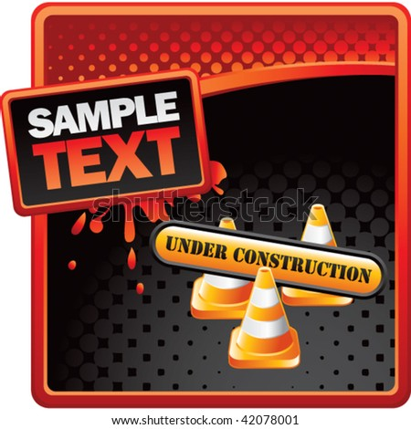 construction cone halftone grungy ad