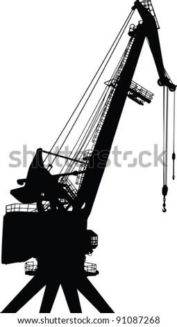 construction crane vector black silhouette