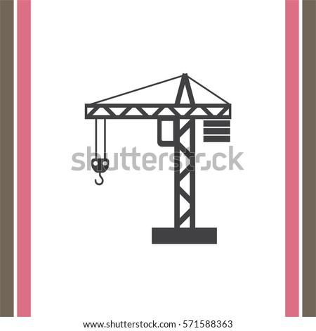 Construction Crane vector icon. Elevator sign. Lifting device symbol