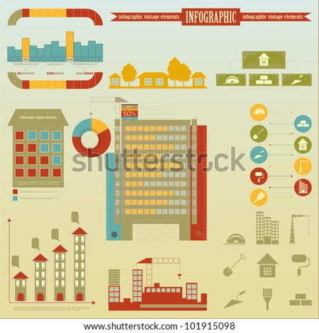 Construction - elements Infographics for presentations - Construction Icons and graphics - vector illustration