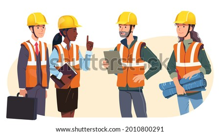 Construction engineer, architect supervisor, building project business employer, audit lawyer, government official meeting. Foreman in hard hat talking with client. Vector character illustration Foto stock ©
