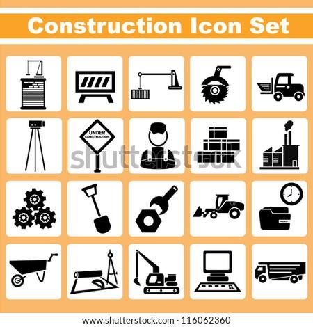 construction, engineering icon set - stock vector