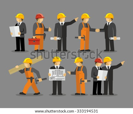 Construction Engineering Industrial Workers Project Manager Vector