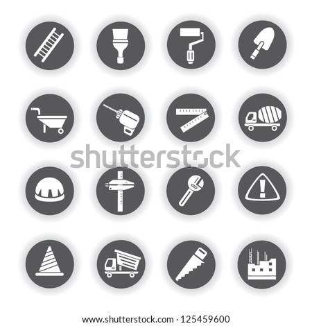 construction equipment icon set civil engineering