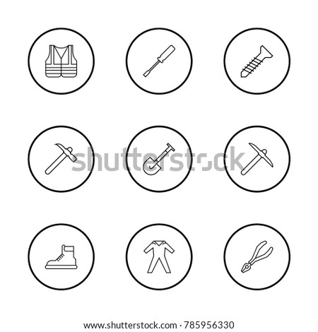 Construction equipment icons set with pliers, screw and pickaxe elements. Set of construction equipment icons and footwear concept. Editable vector elements for logo app UI design.