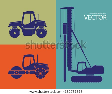 Construction equipment. Silhouettes of  pile driver and road rollers Stockfoto ©
