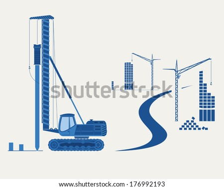 Construction equipment. Silhouettes of  pile driver, cranes and buildings. EPS 10 opacity. Stockfoto ©