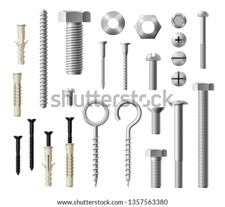 Construction fasteners isolated realistic set of screws, bolts and nuts. Vector metallic lag screws, bolts and hex cap nuts, eye hooks and drywalls with twinfasts and wood fasteners