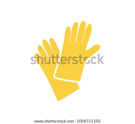 Construction gloves icon.  Glove icon. Dish wash gloves.  Yellow glove for cleaning.