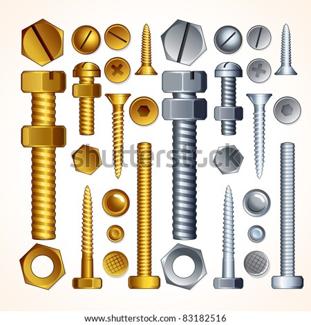 Construction Hardware: Screws, Bolts, Nuts and Rivets, isolated vector elements for your design.