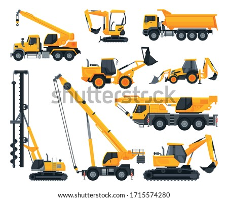Construction Heavy Machinery Set, Heavy Special Transport, Truck, Excavator, Bulldozer, Crane Service Vehicles Vector Illustration
