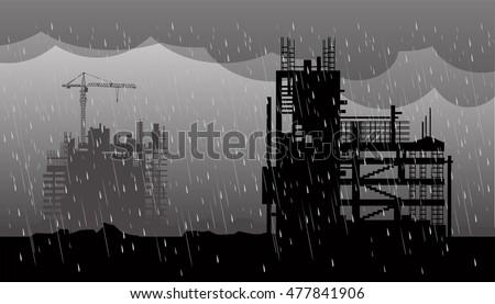 construction  heavy rain in
