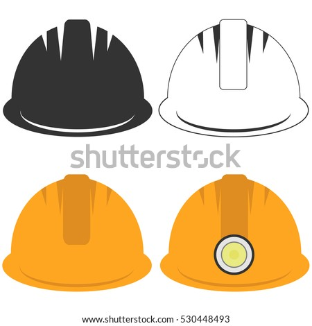 Construction helmet, a set of building helmets, construction helmets illustration, overalls. Flat design, vector.