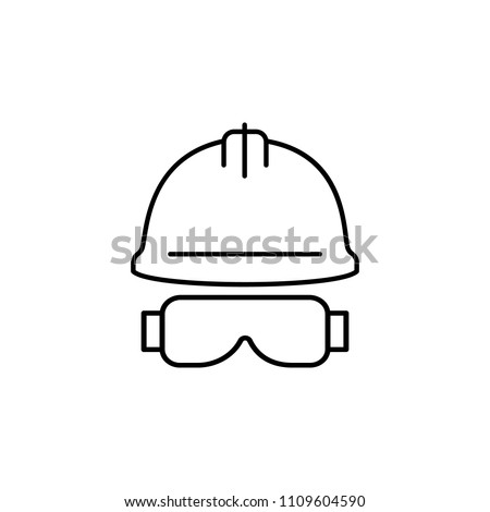 construction helmet and glasses outline icon. Element of construction icon for mobile concept and web apps. Thin line construction helmet and glasses outline icon can used for web on white background