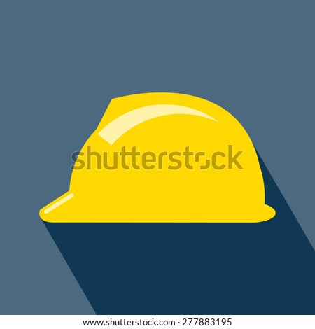 Construction Helmet Icon. Hard Hat Icon. Helmet Builder Icon. Construction Helmet Icon with long shadow. Vector. EPS 10 vector illustration for design. All in a single layer. Vector illustration.