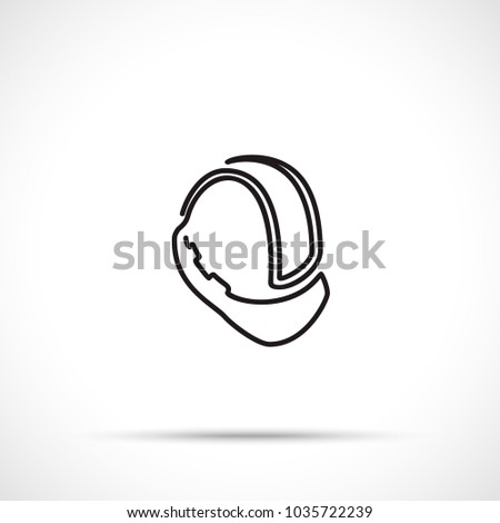 Construction helmet icon isolated on white background. Working tool icon sign symbol. Single line art style.