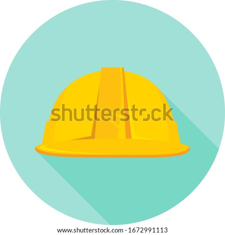 Construction helmet, yellow construction helmet isolated on green background. Vector, cartoon illustration of a realistic construction helmet. Vector.