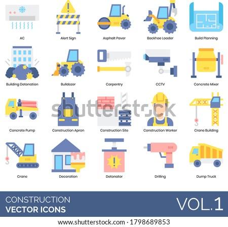 Construction icons including AC, alert sign, asphalt paver, backhoe loader, build planning, building detonation, bulldozer, carpentry, CCTV, concrete mixer, pump, apron, site, worker, crane, detonator Foto d'archivio ©