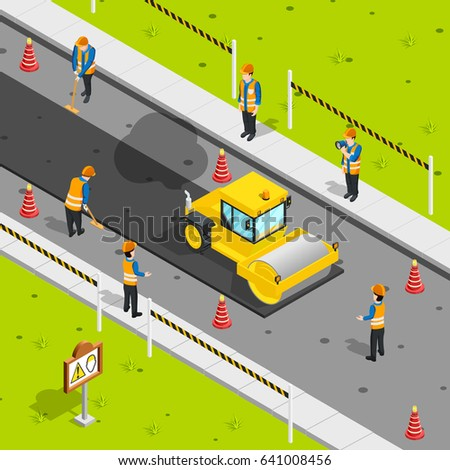 Construction icons isometric composition with steam roller laying asphalt on roadway with safety cones and workers vector illustration