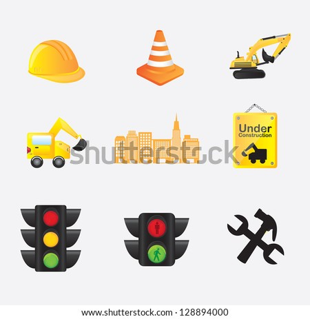 Construction icons over white background vector illustration