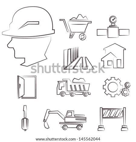 construction icons pencil sketch line icons set vector
