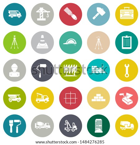 Construction Icons set, Industrial icons set - factory illustration