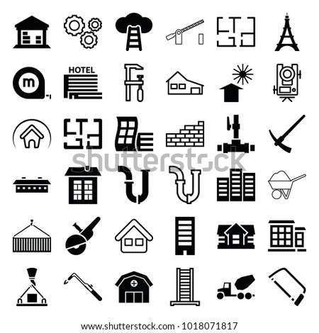 Construction icons. set of 36 editable filled and outline construction icons such as modern curved building, building, house, pipe, hacksaw, blowtorch, cargo barn, plan