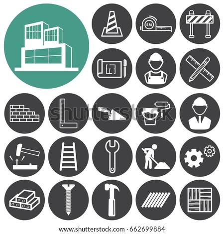 Construction icons set.Vector illustration