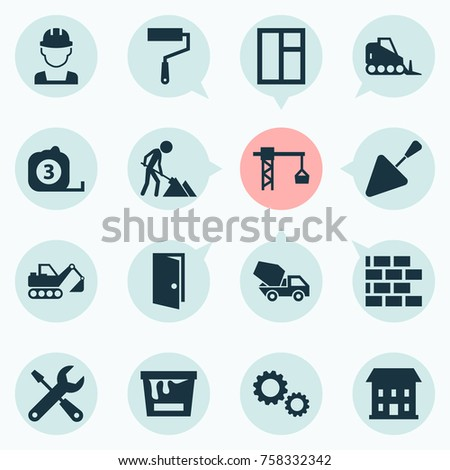 Construction Icons Set With Tractor, Cogwheel, Glass Frame And Other Lifting Hook Elements. Isolated Vector Illustration Construction Icons.