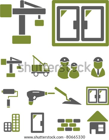 construction icons, vector