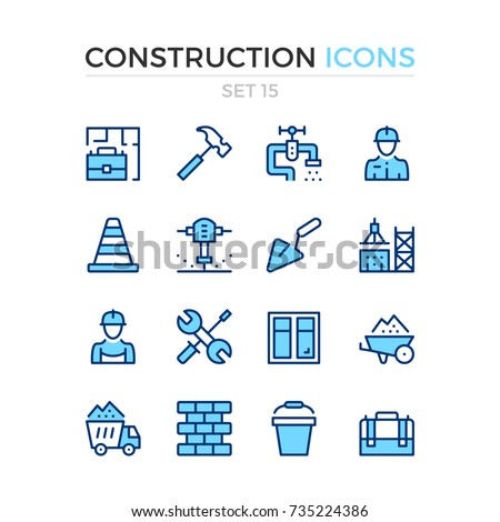 Construction icons. Vector line icons set. Premium quality. Simple thin line design. Modern outline symbols, pictograms.