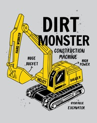 Construction illustration for boys and babies t-shirt graphic and other uses.