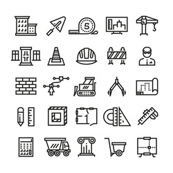 Construction industry, building house, architectural engineering and machinery thin line vector icons