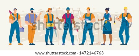 Construction Industry Professions and Workforce Flat Vector Concept with Various Specialties Male and Female Workers in Uniform Standing in Row with Work Tools and Equipment in Hands Illustration