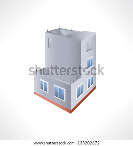 Construction Isometric Building.