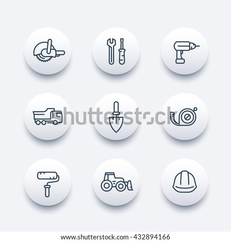 construction line icons, construction equipment and tools linear pictograms, modern round icons, vector illustration