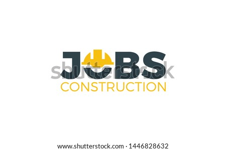 Construction logo in word mark style formed helmet construction symbol