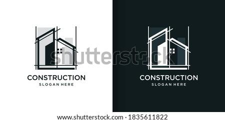 Construction logo part 2 with line art style, building, unique, Premium Vector