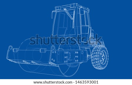 Construction machine. Asphalt compactor outlined vector rendering of 3d. The layers of visible and invisible lines are separated