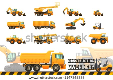 Construction machinery - isolated vector illustrations set on transparent background.