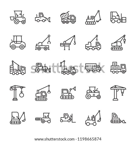 Construction Machinery Line Icon Set