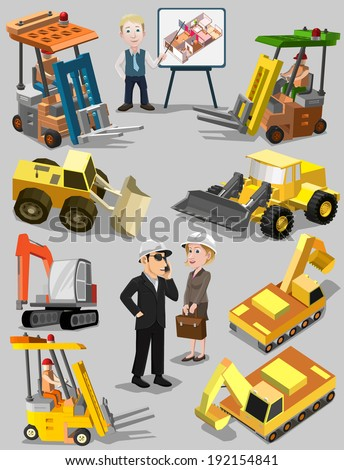 Construction machines and consultant Bulldozer excavator crane and truck people Vector illustration