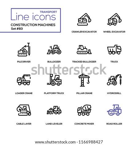 Construction machines - line design icons set. Crawler, wheel excavator, pile driver, tracked bulldozer, platform truck, loader and pillar crane, hydrodrill, cable layer, land leveler, concrete mixer Stockfoto ©