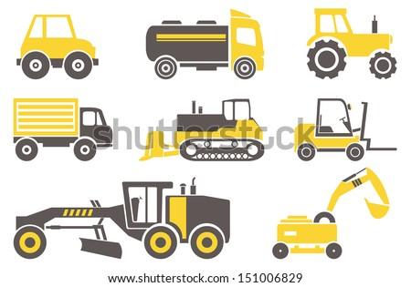 construction machines set for