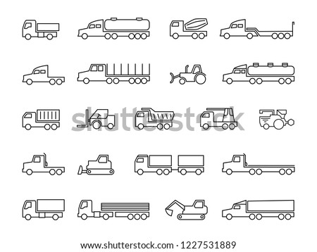 Construction machines. Trucks, tractors, delivery trailers, cargo trukcs, dumpers and heavy equipment line icons