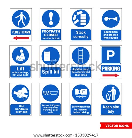 Construction mandatory signs icon set of color types. Isolated vector sign symbols. Icon pack. Stock photo ©