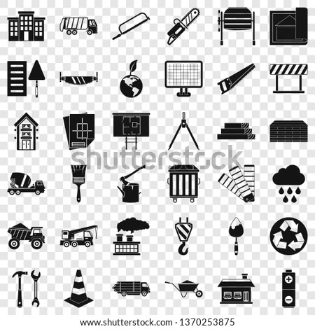 Construction material icons set. Simple style of 36 construction material vector icons for web for any design